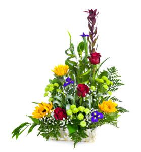 Bright flower bouquet in basket isolated over white background
